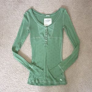 A&F Green Long Sleeve Henley Top